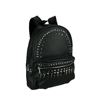 Nera con borchie Multi tasca moda Laptop Backpack