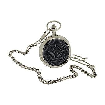 Boxx Gents Masonic Oxidised Design Cover Pocket Watch 14 Inch Chain BOXX394