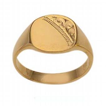 9ct Gold 10x10mm ladies engraved TV shaped Signet Ring Size L