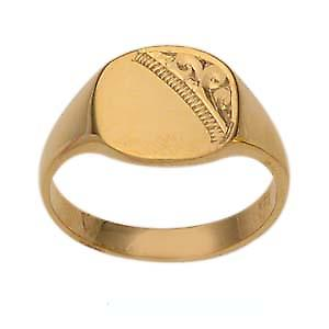 9ct Gold 10x10mm ladies engraved TV shaped Signet ring