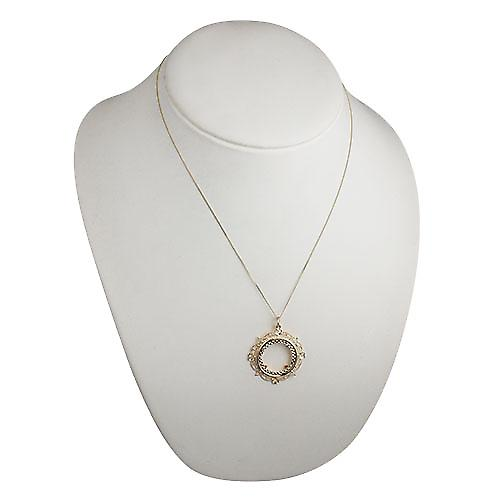 9ct Gold 35mm Full Sovereign mount with a diamond cut Bezel Pendant with a curb Chain 20 inches