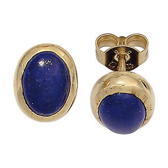 Ляпис-лазурь серьги 585 золото желтое золото 2 Lapis синий Серьги золото драгоценных камней ювелирные изделия