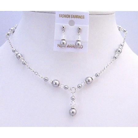 Silver Pearls Clear Crystals Prom Bridal Bridesmaid Swarovski Jewelry