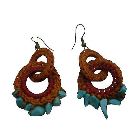 Handknitted Brown Red Crochet Boho Style Latest Hoop Fashion Earrings