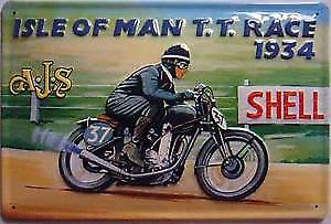AJS at Isle of Man TT 1934 embossed steel sign