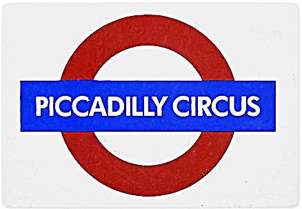 Piccadilly Circus London Underground Roundel small enamel sign (gg)