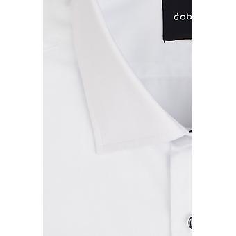 Dobell Mens Mens White Dress Shirt Regular Fit Standard Collar Double Cuff Contrast Button Detail