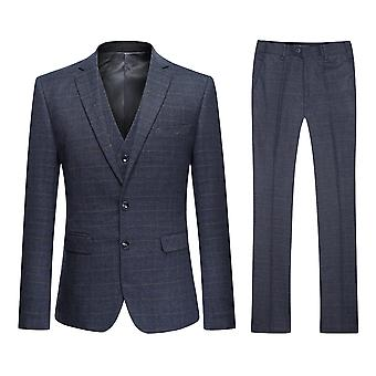 Allthemen Men's Two-Button Slim Business Casual Grey Plaid 3-Piece Suit Blazer Vest Trousers