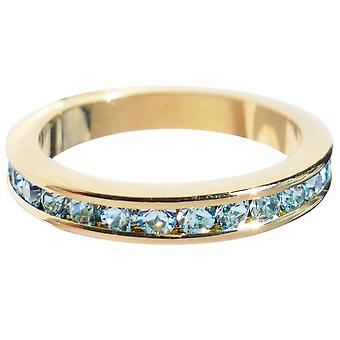 Ah! Jewellery! Aqua Blue Cubic Zirconia Eternity Band, Gold Electroplated