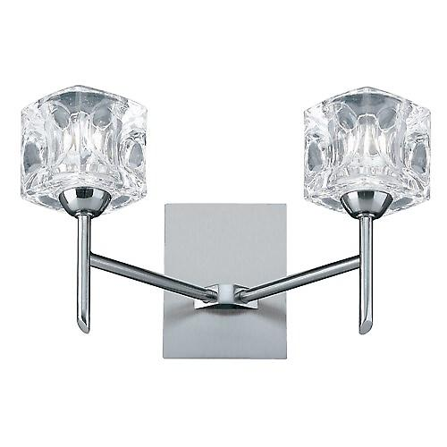 Searchlight 4342-2 Ice Cube 2 Light Wall Bracket With Ice Cube - Satin Silver