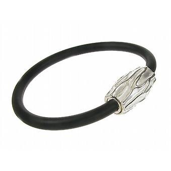 Cavendish French Sterling Silver and Black Rubber Sandblasted Bracelet