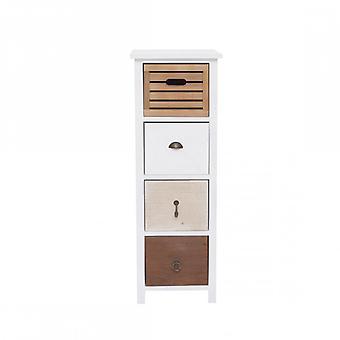 Rebecca möbler natt duks bord 4 lådor Shabby chic vintage brunt trä vit rum badrum