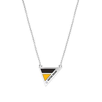 Boston Bruins Boston Bruins Engraved Diamond Geometric Necklace In Black And Yellow