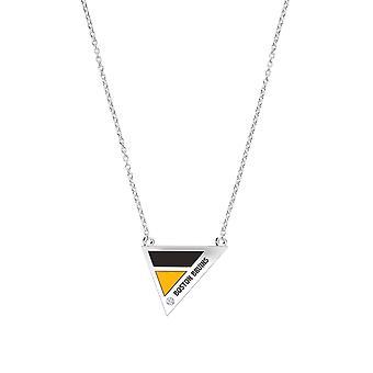 Boston Bruins Boston Bruins gegraveerde Diamond geometrische ketting in zwart en geel