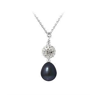 Collier Pendentif Perle de culture Noire, cristal et Argent 925