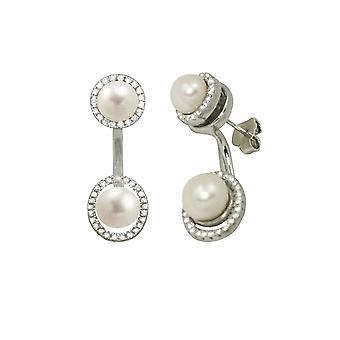 Eternal Collection Fandango CZ And Freshwater Pearl Sterling Silver Drop Pierced Earrings