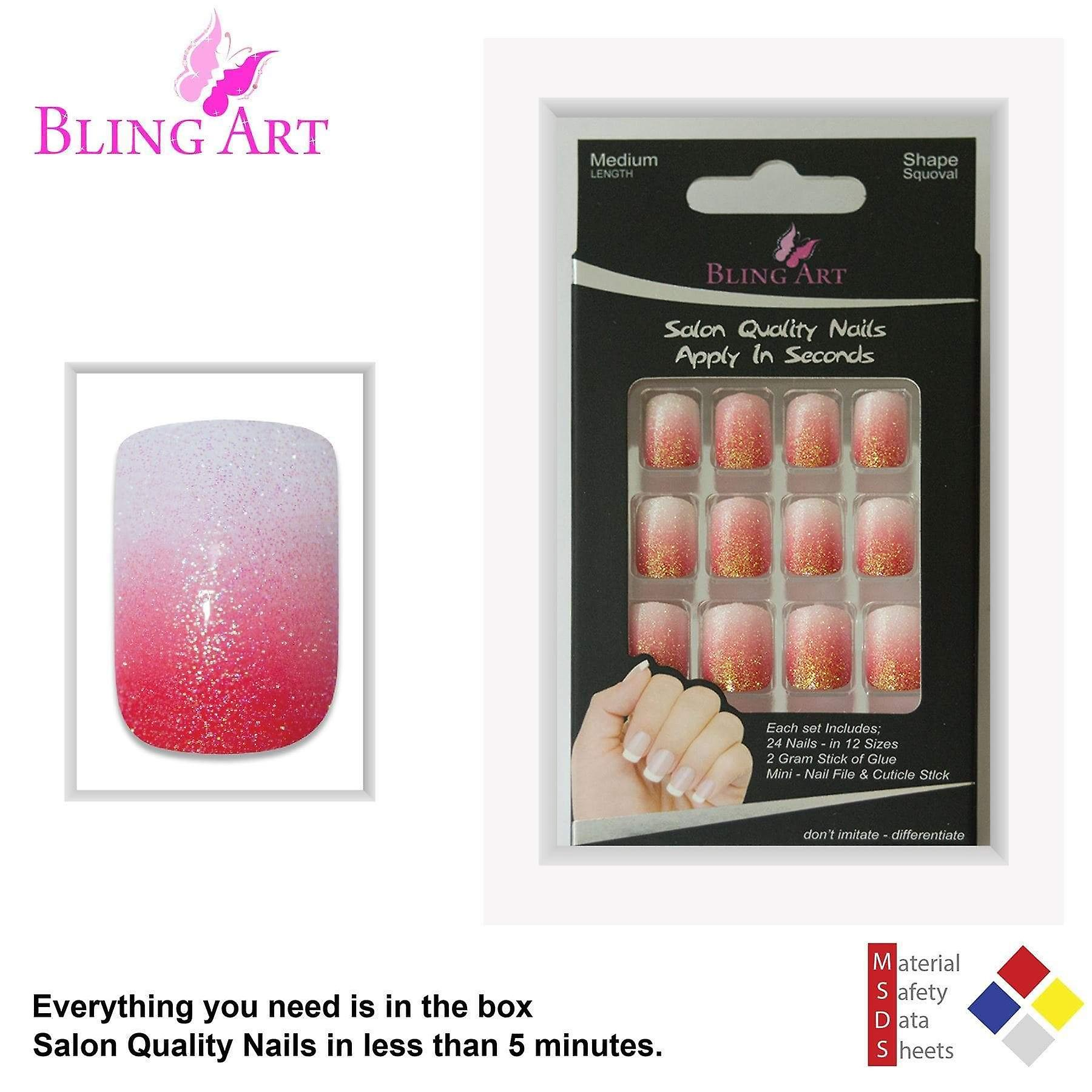 False nails by bling art red gel ombre french squoval 24 fake medium tips
