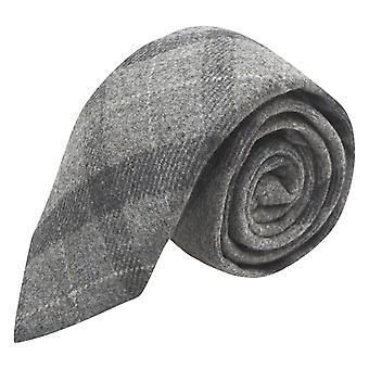 Light Grey & Dark Grey Check Tie, Tweed, Tartan, Plaid