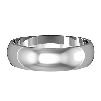 Jewelco London 18ct White Gold - 5mm Essential D-Shaped Band Commitment / Wedding Ring