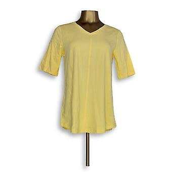 Denim & Co. Women's Top Essential Elbow Sleeve Yellow A278986
