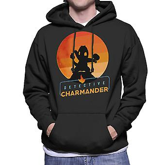 Detective Charmander Silhouette Men's Hooded Sweatshirt