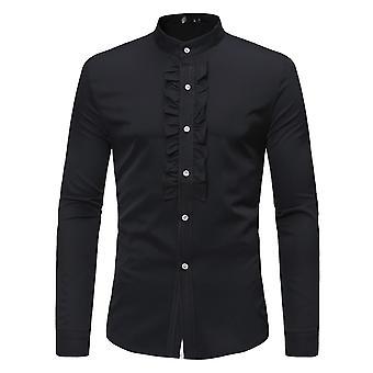Allthemen Men's Solid Slim Stand Collar Banchetto Tuxedo Camicia a maniche lunghe