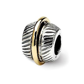925 Sterling Silver Antique finish and 14k Reflections SimStars Bali Bead Charm