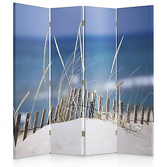 Room Divider, 4 Panels, Double-Sided, 360 ° Rotatable, Canvas, Beach