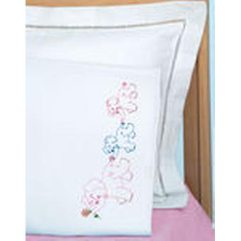 Children's Stamped Pillowcase With White Perle Edge 1 Pkg Elephant Train 1605 122