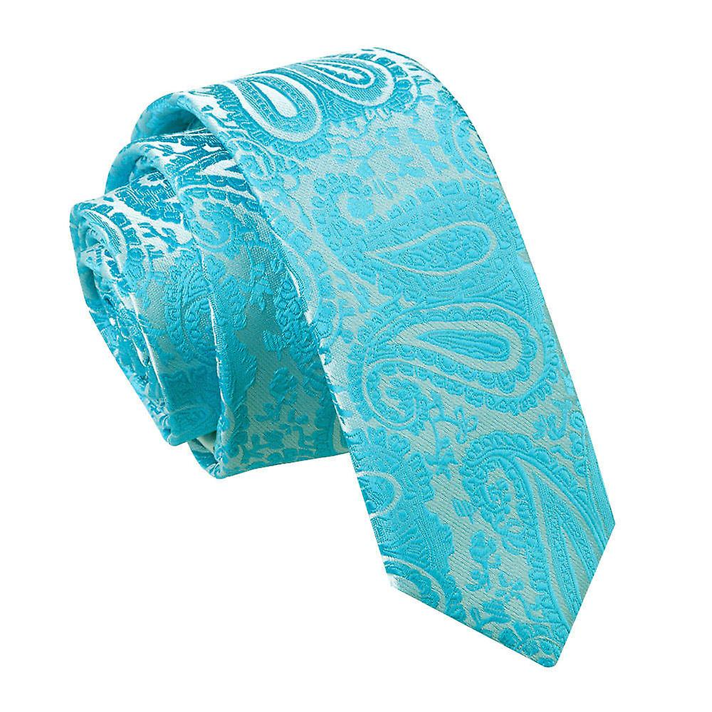 Turquoise Paisley Patterned Skinny Tie