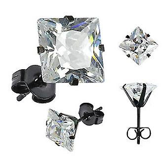Urban Male Black Stainless Steel Stud Earrings with 8mm Square CZ
