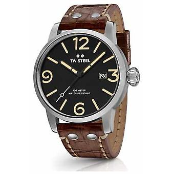 TW Steel Mens Maverick Brown Leather Strap Black Dial MS1 Watch