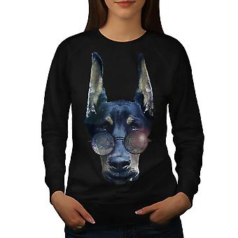 Cool Dog Doberman Animal Women Black Sweatshirt | Wellcoda