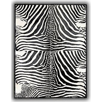 Rugs - Patchwork Leather Cubed Cowhide - Zebra Print 4 Pieces