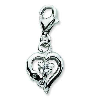 Sterling Silver Click-on CZ Polished Heart Charm - Measures 22x8mm