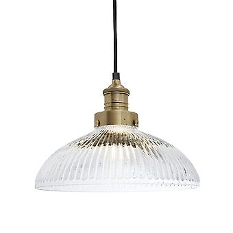 Brooklyn Vintage Antique Ribbed Glass Retro Dome Pendant - 12