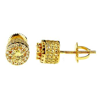 Sterling 925 Silber MICRO PAVE Ohrstecker - HIGH 8mm gold