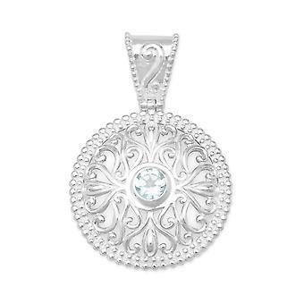 Sterling Silber polierte schneiden Sie Swirl Design Anhänger Perlen Egde 6mm Blautopas Phantasie Bale Charme