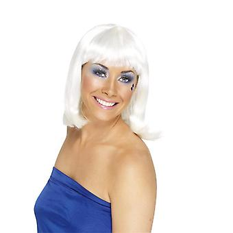 Party GoGo girl wig party wig medium length white