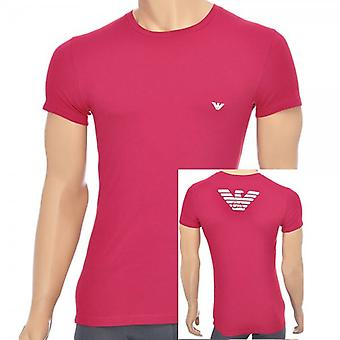 Emporio Armani Eagle Stretch Cotton Crew Neck T-Shirt, Ruby, X-Large