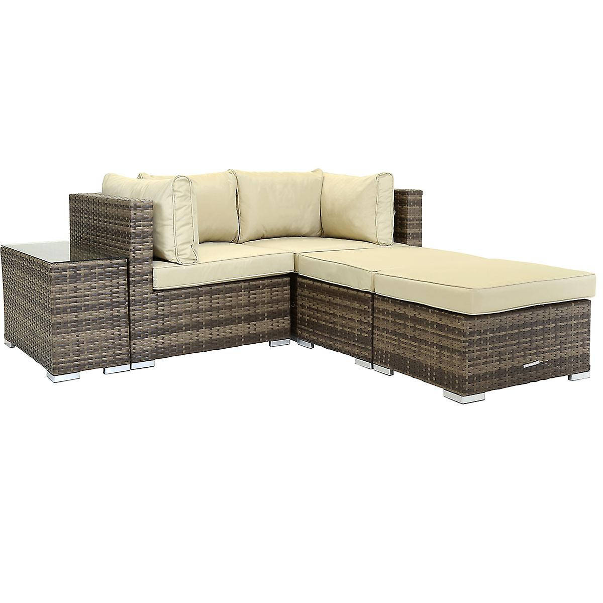 Charles Bentley 2 Seater Multifunctional Contemporary Rattan Outdoor Garden Lounge Set Love Seat, 2 Footstools, Coffee Table - Available In Brown Or Grey