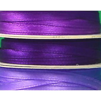 3mm Co-Ordinating Satin Ribbon Set for Crafts - 3 Pack - Purples