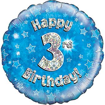 Oaktree 18 Inch Happy 3rd Birthday Blue Holographic Balloon