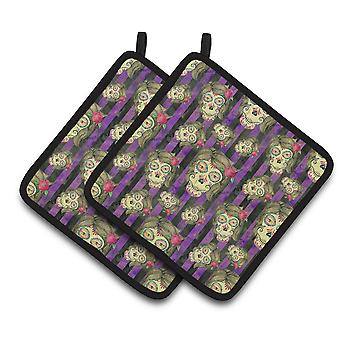 Watecolor Day of the Dead Halloween Pair of Pot Holders