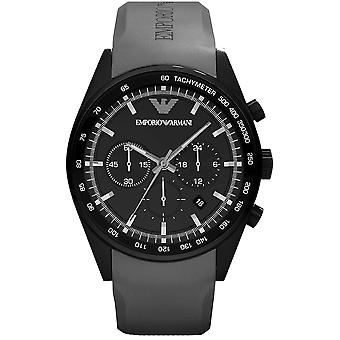 Emporio Armani AR5978 Grey Rubber Strap Black Stainless Steel Dial Sportivo Watch