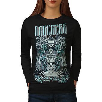 Dunkelheit gotische Schädel Frauen BlackLong Sleeve T-shirt   Wellcoda