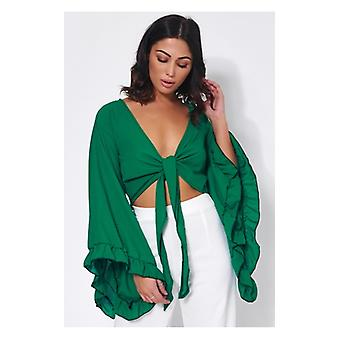 The Fashion Bible Valentina Green Tie Front Wide Sleeve Crop Top