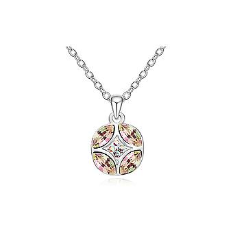 Elements white Swarovski Crystal Circle Pendant and white gold plate