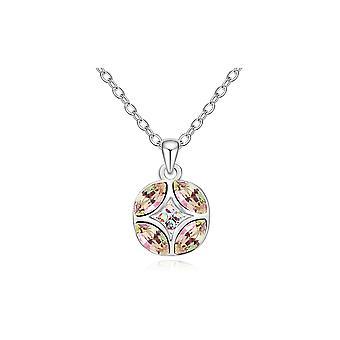 Elementy biały wisząca koło kryształ Swarovski i białego złota płyta