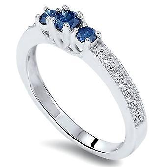 1 / 2ct diamant bleu 3-Stone Ring 14K or blanc